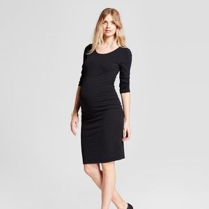 Classic black long sleeve maternity dress